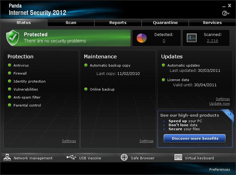Click to view Panda Internet Security 2012 17.00.00 screenshot