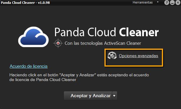 Cloud Cleaner Opciones Avanzadas