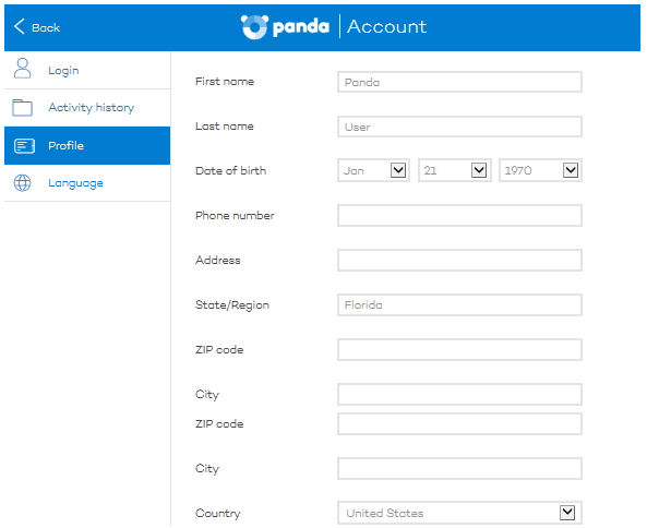 panda security my account