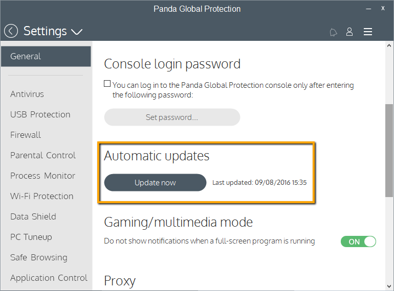 How to check if the protection of my Panda is updated