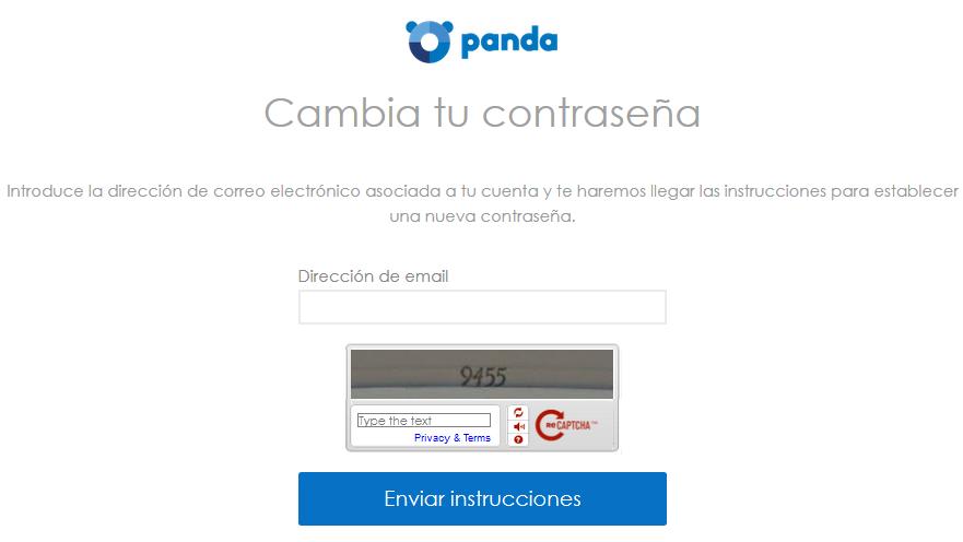 Cambiar contraseña en Cuenta Panda