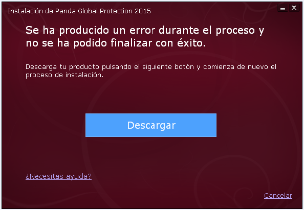 Mensaje de error durante la instalación de Panda 2015: