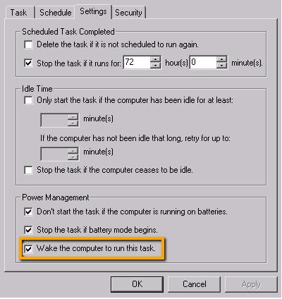 Wake up computer XP