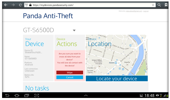Confirm wipe Panda Mobile Security