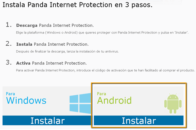 Proteger Android con Panda Internet Protection