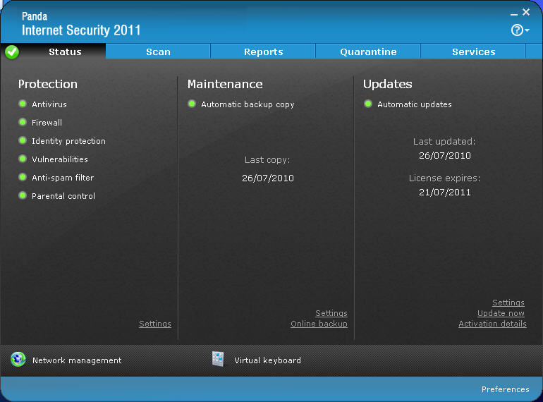 Click to view Panda Internet Security 2011 16.00.00 screenshot