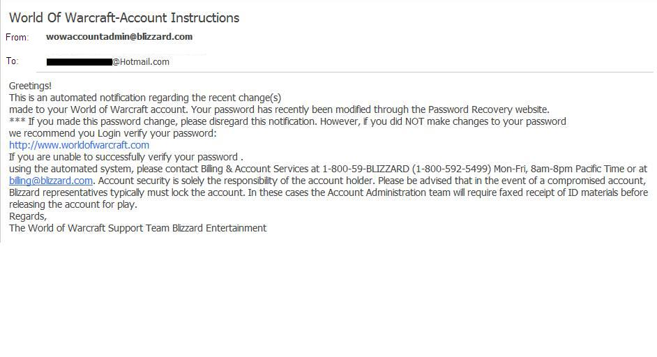 WoW phishing mail