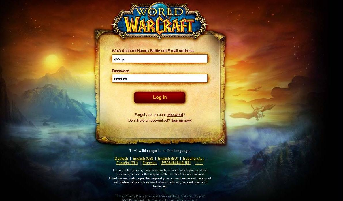 World of warcraft forgot password