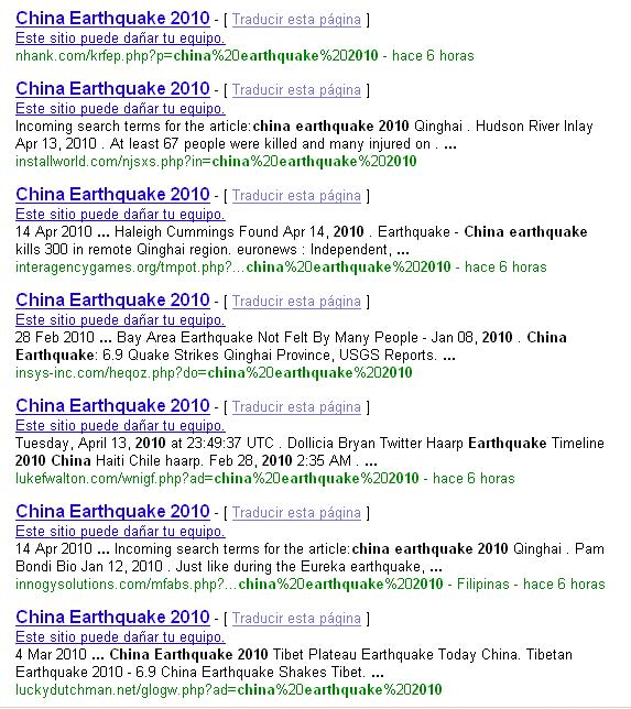 Google results related to the China Earthquake