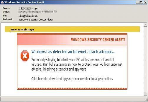 Fake Windows Security Center alert - Panda Security Mediacenter