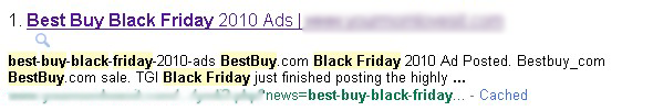 Best Buy/Black Friday Malicious Search Result