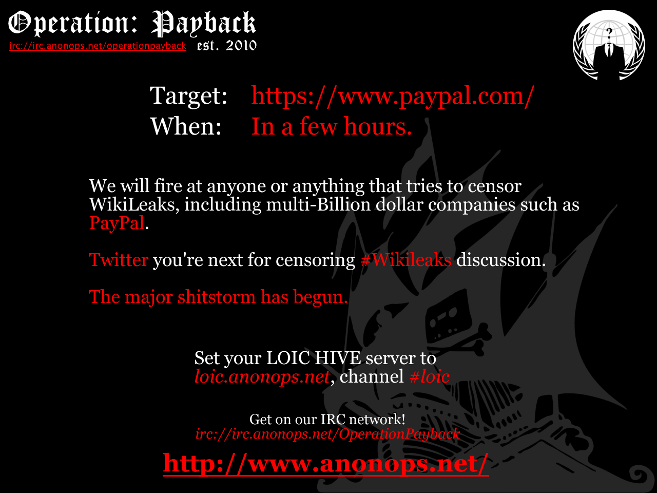 Anonymous :: Paypal Attack Poster