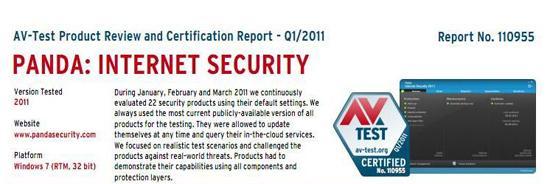 Panda Internet Security 2011 Receives AV-Test Certification for