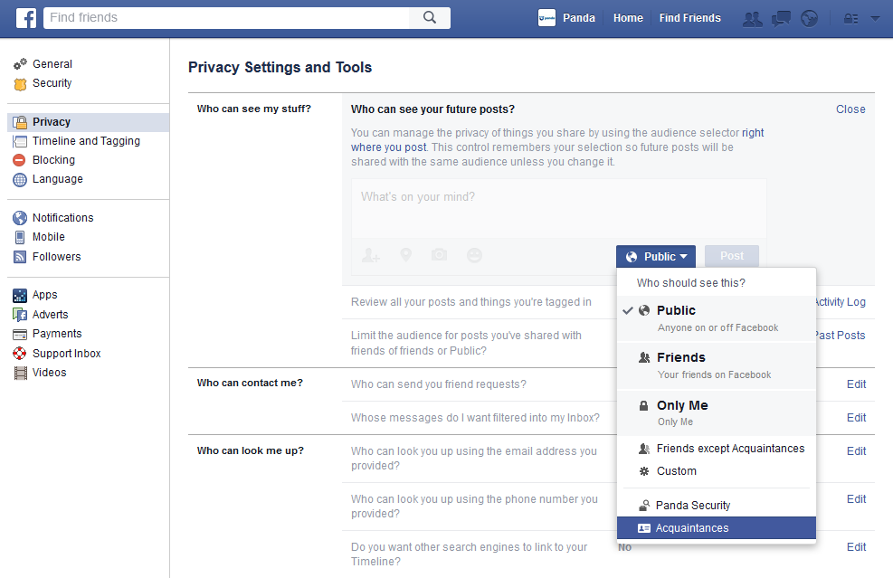Privacy settings Facebook