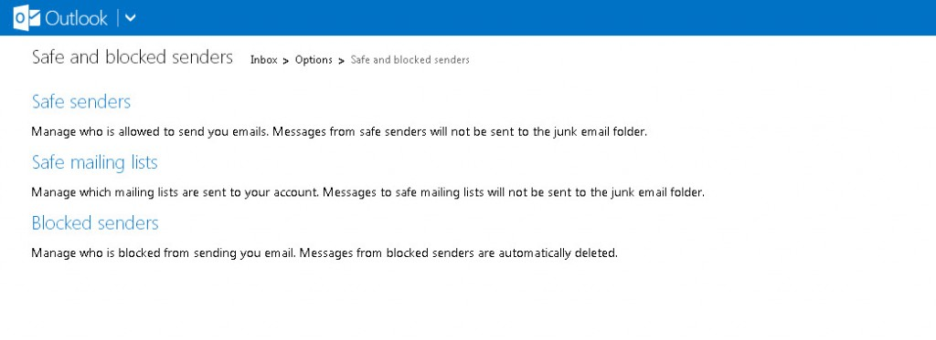 Outlook - Safe and blocked senders