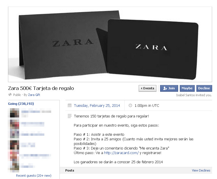 Zara, new scam on Facebook