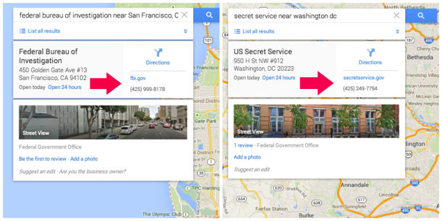 fake FBI office in Google Maps