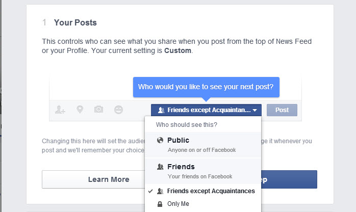 facebook privacy check - up posts