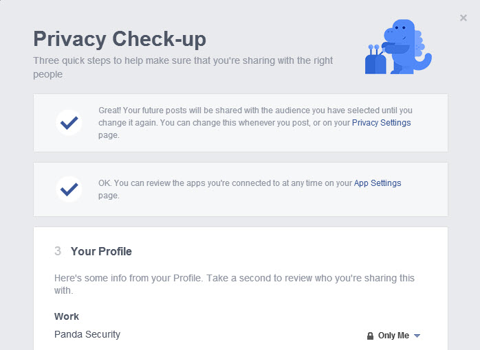 facebook privacy check - up profile