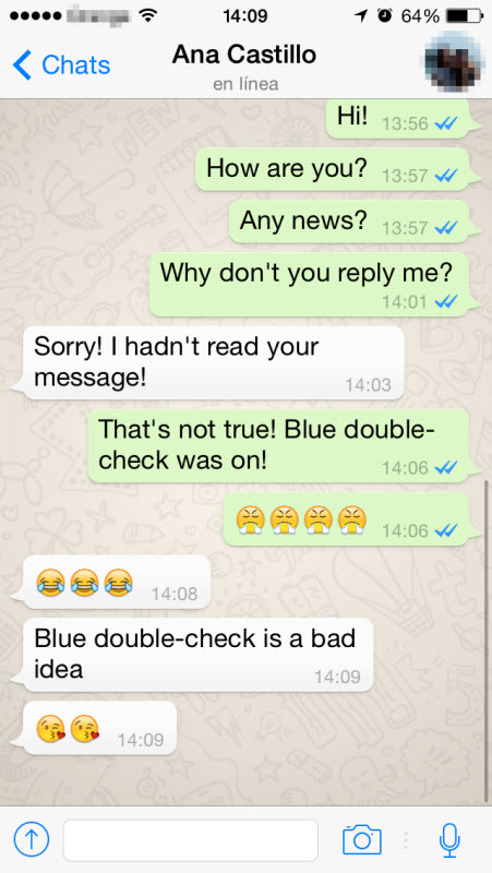 Whatsapp Messages Blue double-check in whatsapp . your message has ...