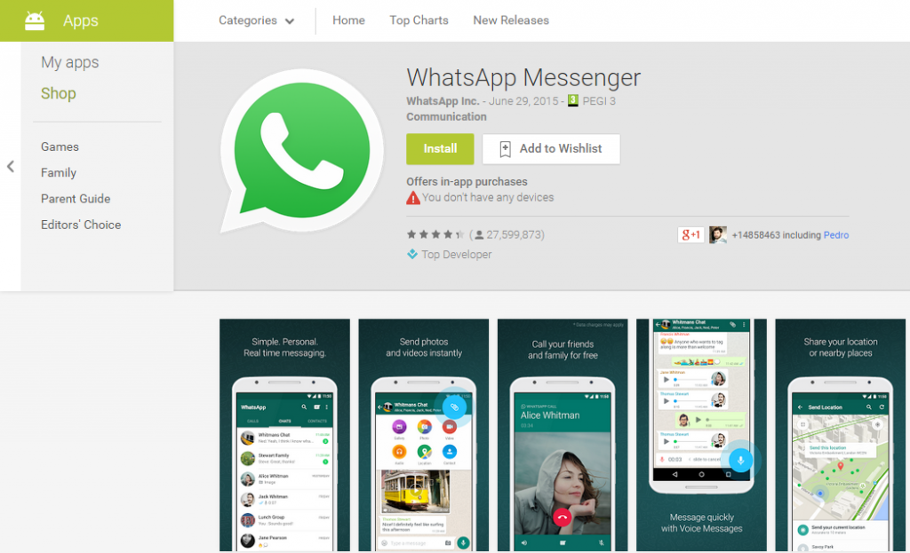 Download whatsapp messenger from google play store