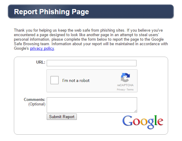 report phishing page
