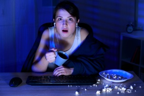 Girl spending all night on the computer