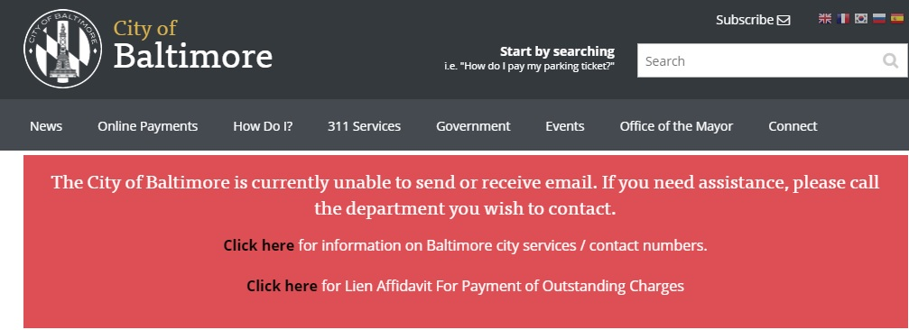 Note on the Baltimore city website on May 28