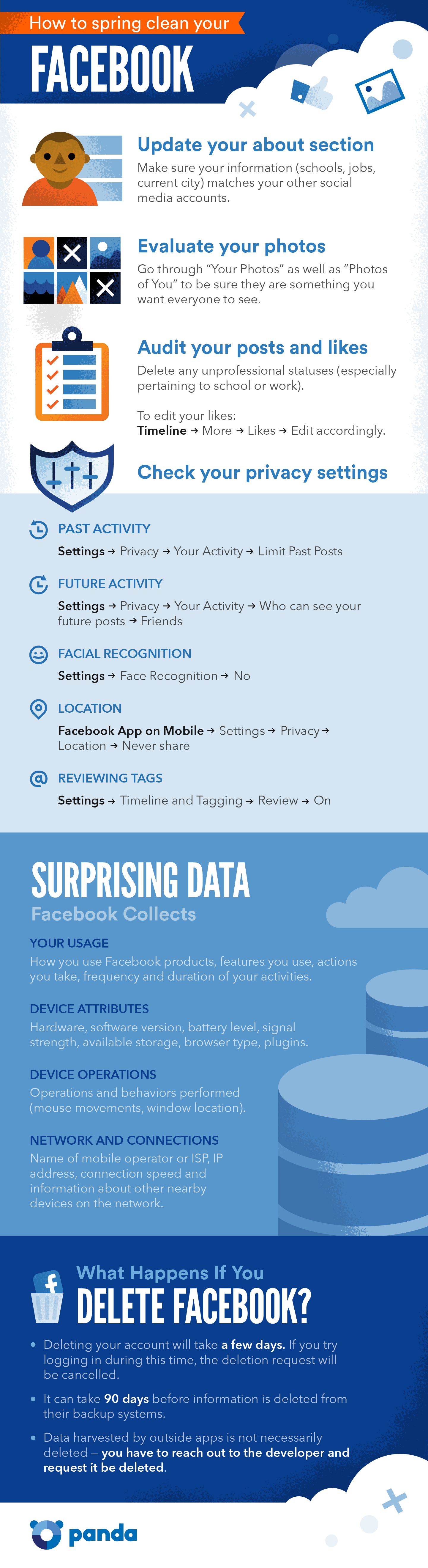 how to spring clean your Facebook Infographic