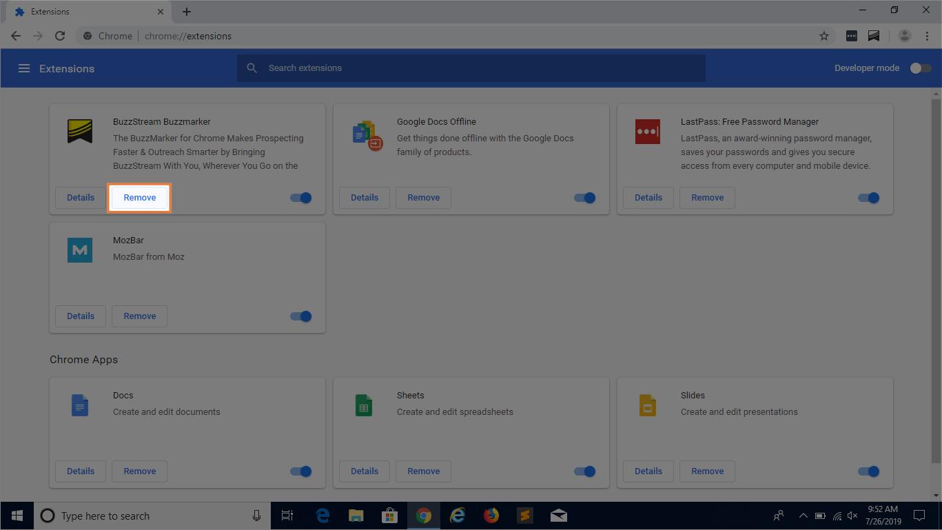 screenshot of fixing web browser