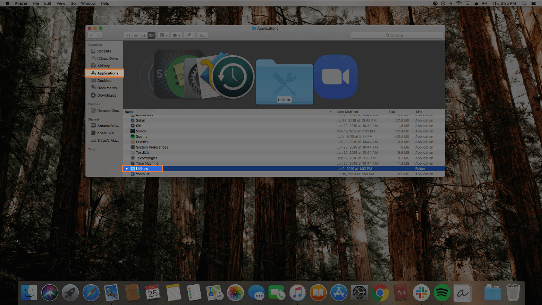 screenshot of finding activity monitor