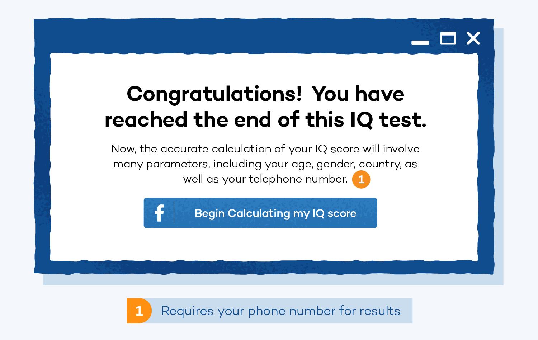 IQ social media scam example