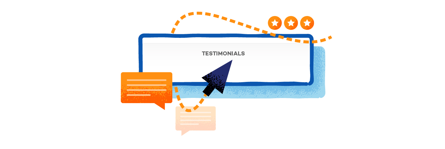 graphic that shows credible website with testimony and reviews symbol