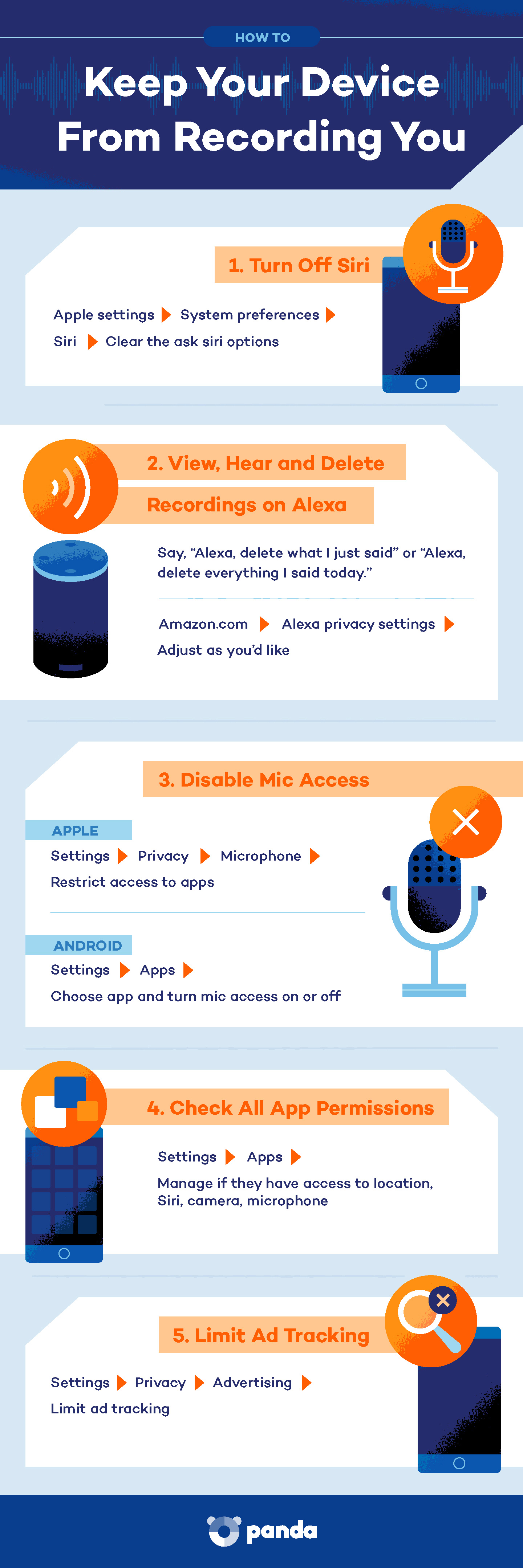 infographic of how to keep your device from recording you