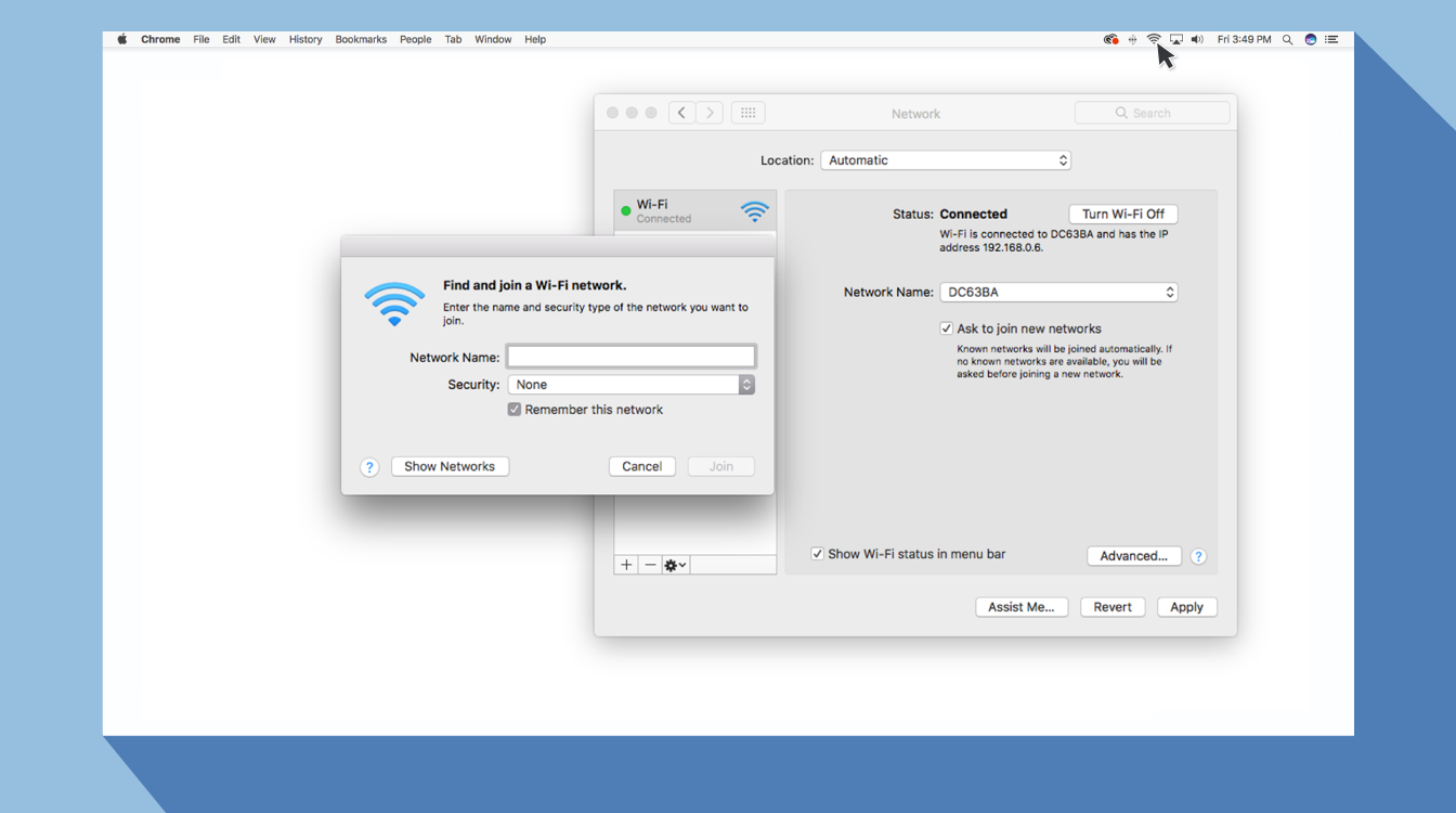 Graphic showing wifi preferences