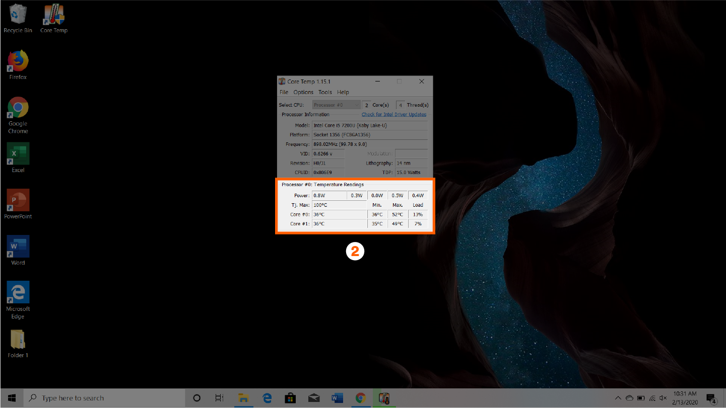 screenshot that shows step 2 of how to check your cpu temp with coretemp app