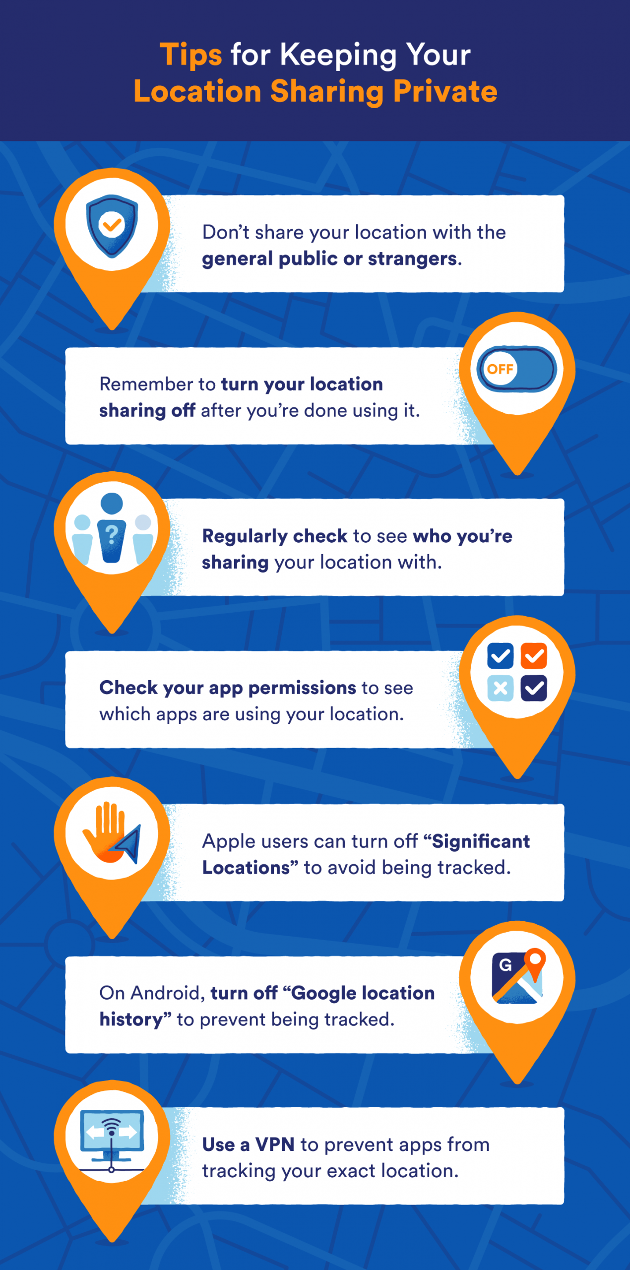 graphic that shows tips for location sharing