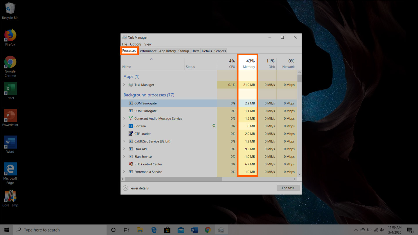screenshot of how to free up ram on windows device step 1