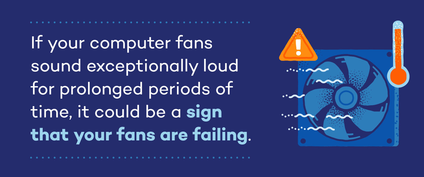 If your computer fans sound exceptionally loud for prolonged periods of time, it could be a sign that your fans are failing.