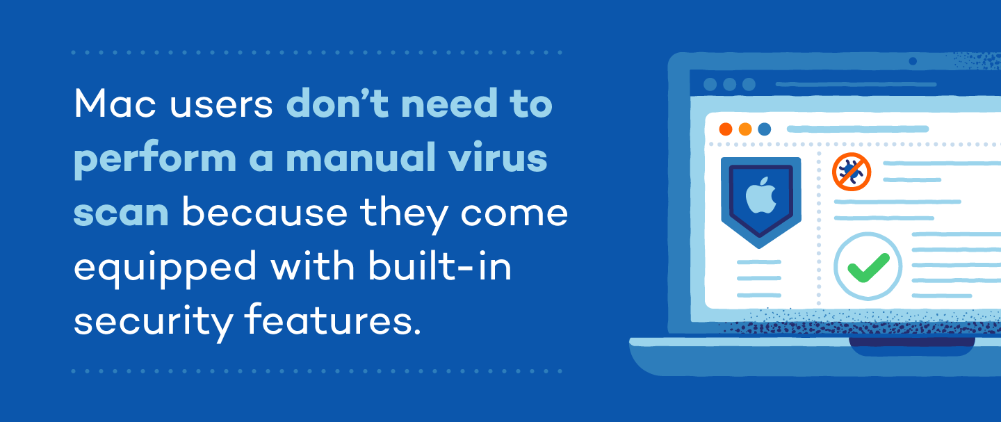 Mac users don't need to perform a manua virus scan because they come equipped with built-in security features.