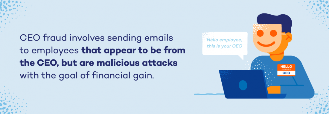 CEO fraud involves sending emails to employees that appear to be from the CEO, but are malicious attacks with the goal of financial gain.