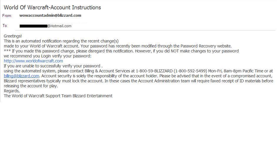 Mensaje de phishing de World of Warcraft