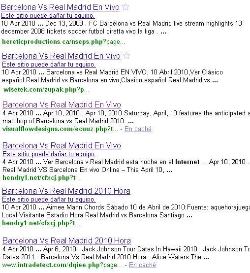 Resultados maliciosos servidos por Google