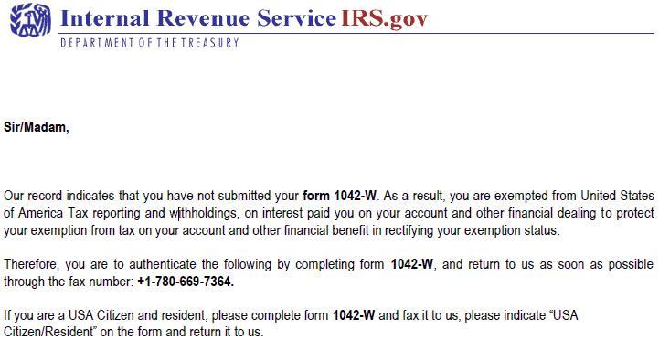 Falso documento del IRS