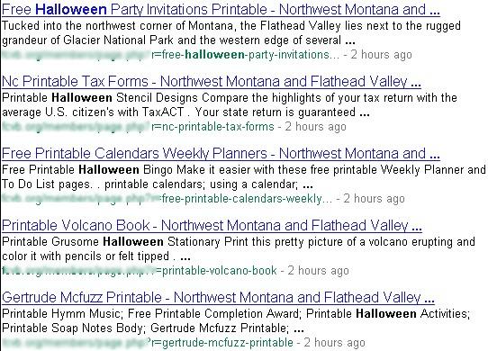 Resultados de la búsqueda afectada por el Blackhat SEO de Halloween y Acción de Gracias