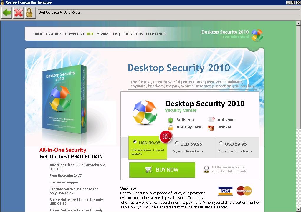 Página de compra de Desktop Security 2010