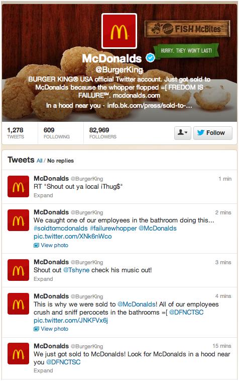 Captura de la cuenta de Twitter de Burger King tras ser hackeada