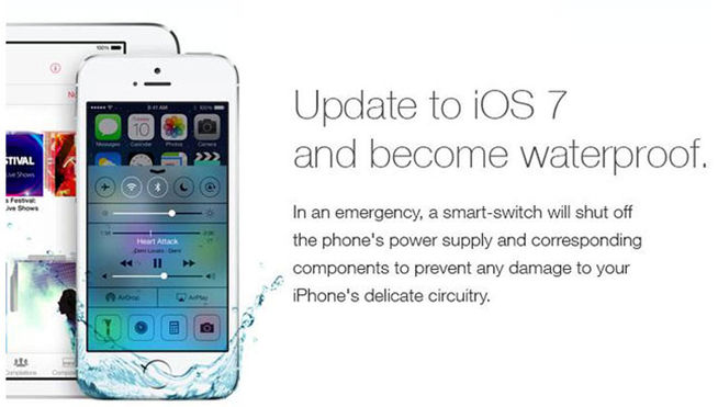 Anuncio falso sobre IOS7 y iPhone sumergible