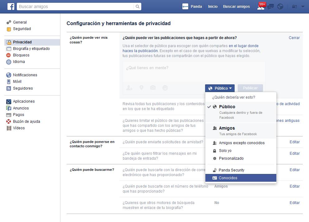 Limitar público publicaciones Facebook