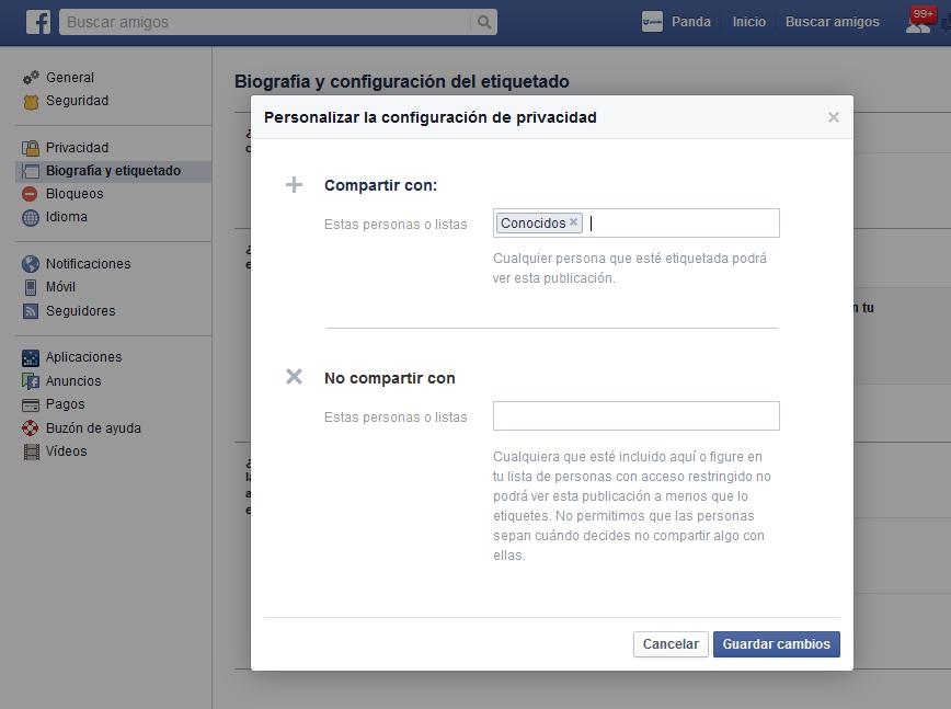 Configuración privacidad publicaciones Facebook